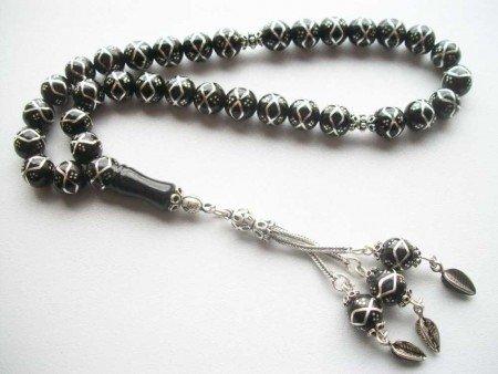Gümüş İşlemeli Özel Yapım Oltu Tesbih (ÖZEL KOLEKSİYON 1) - Thumbnail
