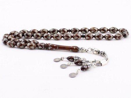 Gümüş İşlemeli ve Özel Gümüş Püsküllü Kuka Tesbih - Thumbnail