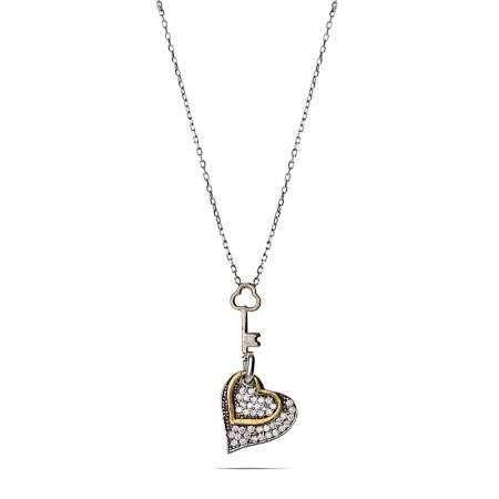Gümüş Kalbimin Anahtarı Kolye - Thumbnail