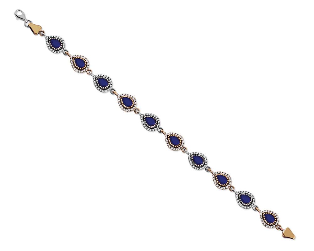 Zirkon ve Lacivert Ruby Taşlı Damla Tasarım 925 Ayar Gümüş Bayan Bileklik