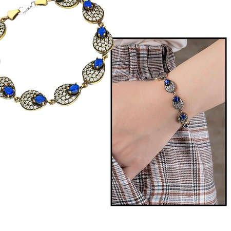 Zirkon ve Lacivert Ruby Taşlı 925 Ayar Gümüş Bayan Bileklik - Thumbnail