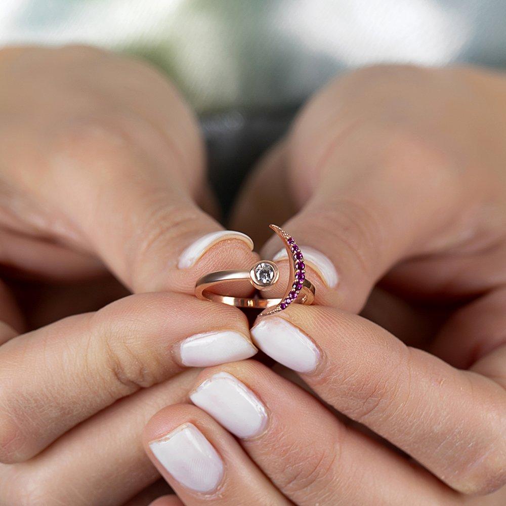 Gümüş Pembe Zirkon Taşlı Eklem Yüzüğü (model 1)