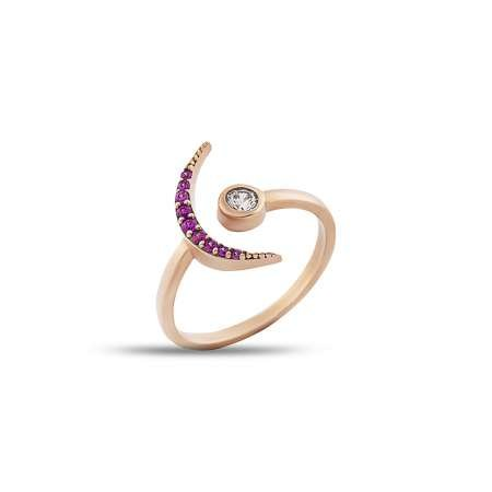 Gümüş Pembe Zirkon Taşlı Eklem Yüzüğü (model 1) - Thumbnail