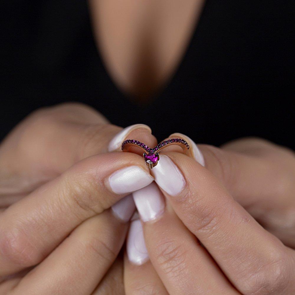Gümüş Pembe Zirkon Taşlı Eklem Yüzüğü (model 2)