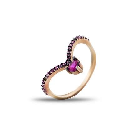 Gümüş Pembe Zirkon Taşlı Eklem Yüzüğü (model 2) - Thumbnail