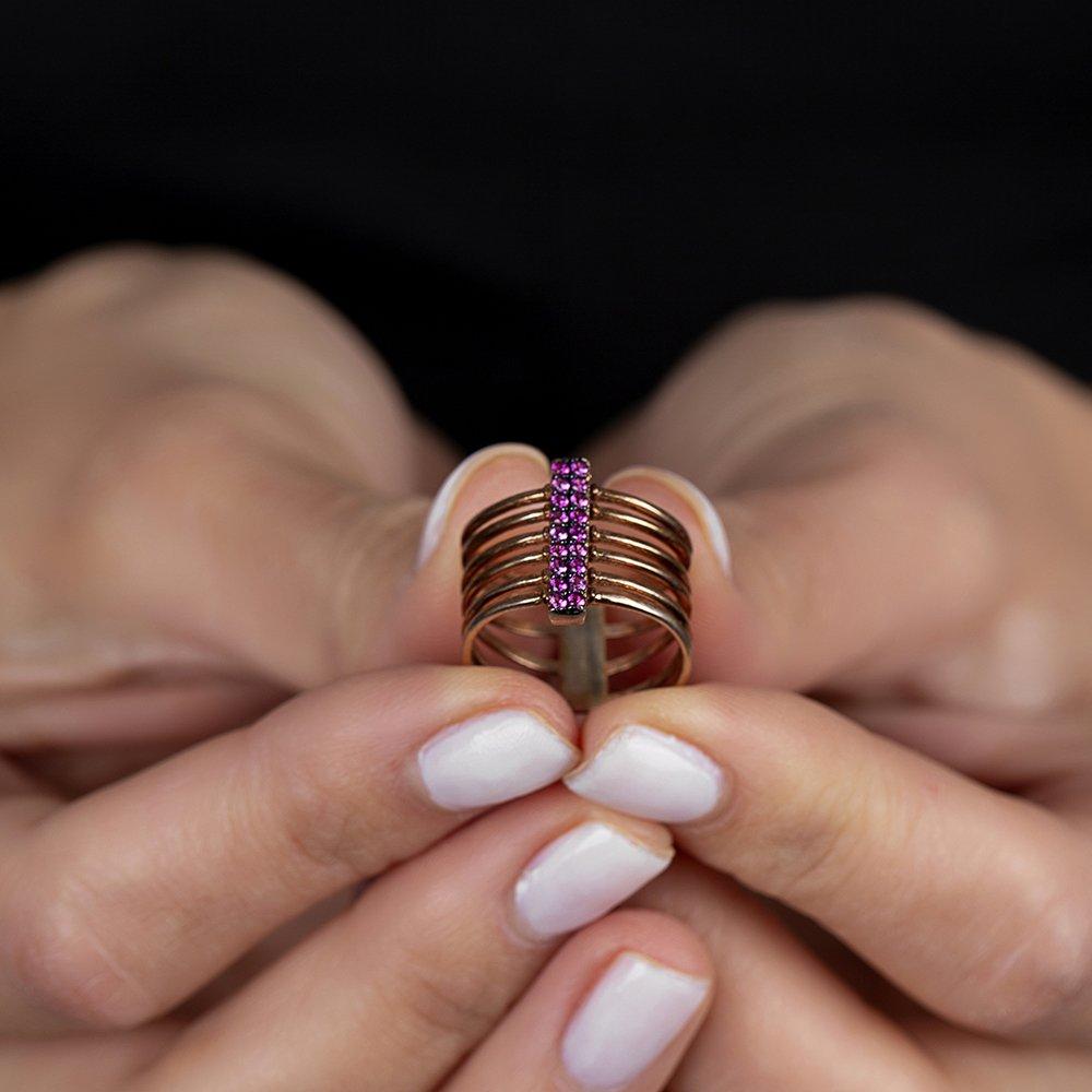 Gümüş Pembe Zirkon Taşlı Eklem Yüzüğü (model 3)
