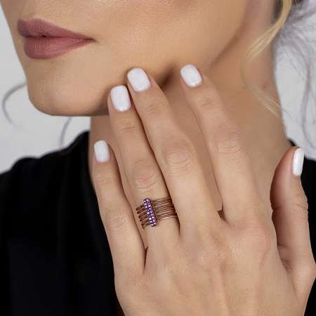 Gümüş Pembe Zirkon Taşlı Eklem Yüzüğü (model 3) - Thumbnail