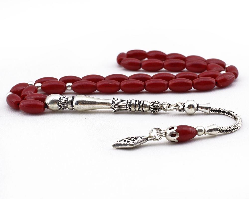 925 Ayar Gümüş Püsküllü Arpa Kesim Kırmızı Mercan Doğaltaş Tesbih