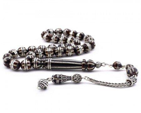 Gümüş Püsküllü Gümüş ve Mine İşlemeli Küre Kesim Kuka Tesbih - Thumbnail