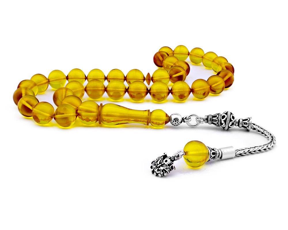 Gümüş Püsküllü Sarı Sıkma Kehribar Tesbih