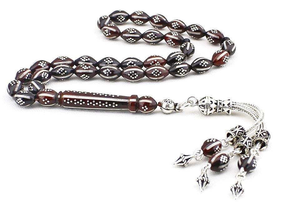 925 Ayar Gümüş Püsküllü Gümüş-Mine İşlemeli Arpa Kesim Kuka Tesbih