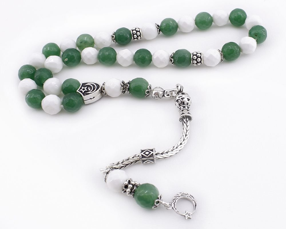 Gümüş Püsküllü Yeşil Beyaz Doğaltaş Taraftar Tesbihi