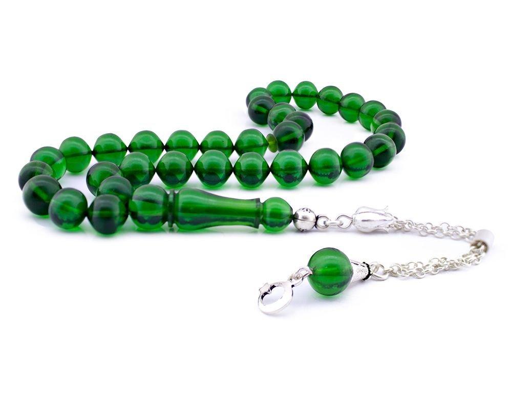 Gümüş Püsküllü Yeşil Sıkma Kehribar Tesbih