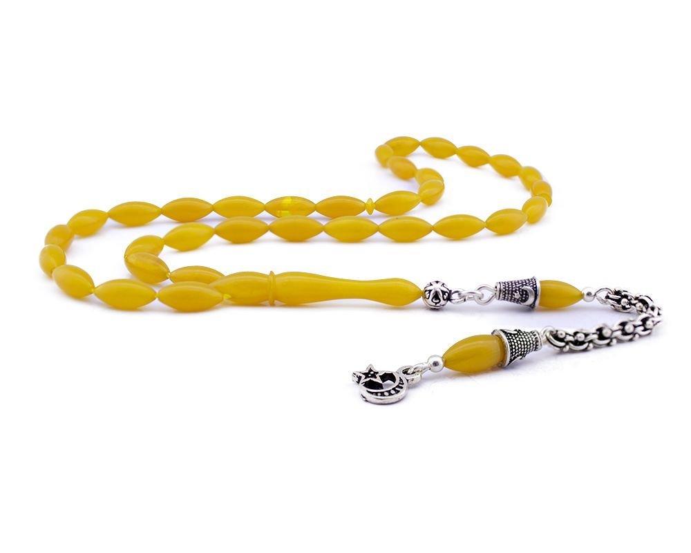 Gümüş Püsküllü Zarif Sarı Sıkma Kehribar Tesbih