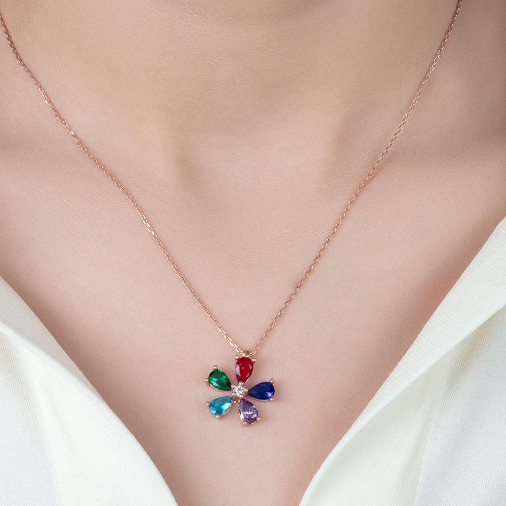 Karışık Renk Zirkon Taşlı Çiçek 925 Ayar Gümüş Bayan Kolye