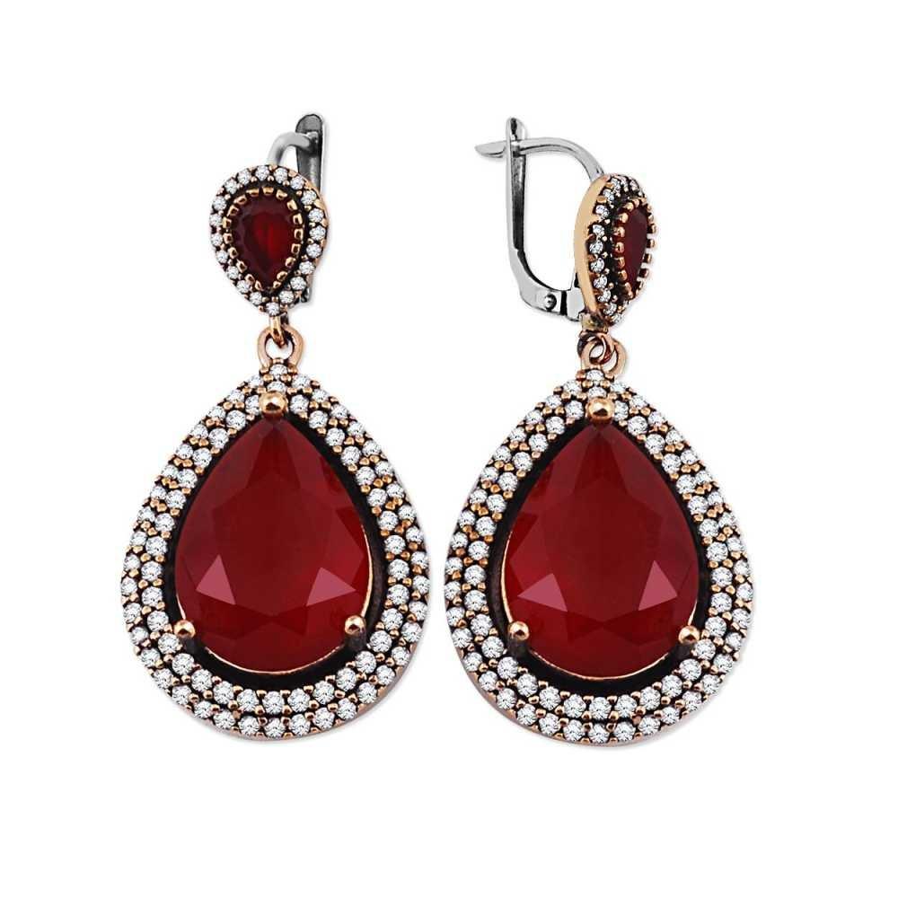 Zirkon ve Kırmızı Ruby Taşlı Damla Tasarım 925 Ayar Gümüş Küpe