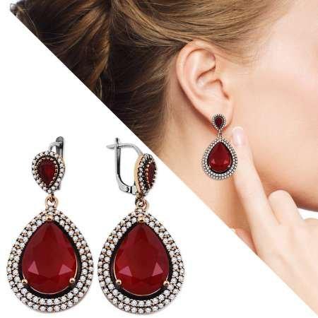 Zirkon ve Kırmızı Ruby Taşlı Damla Tasarım 925 Ayar Gümüş Küpe - Thumbnail