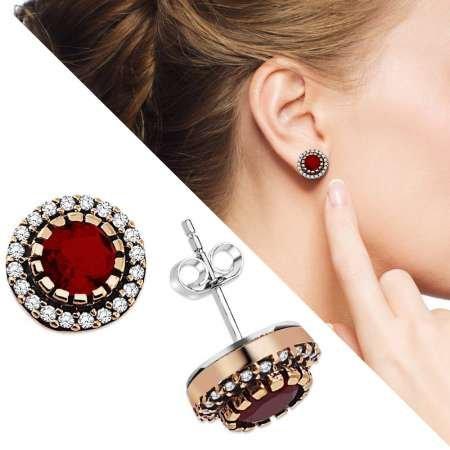 Zirkon ve Kırmızı Ruby Taşlı Yuvarlak Tasarım 925 Ayar Gümüş Küpe - Thumbnail