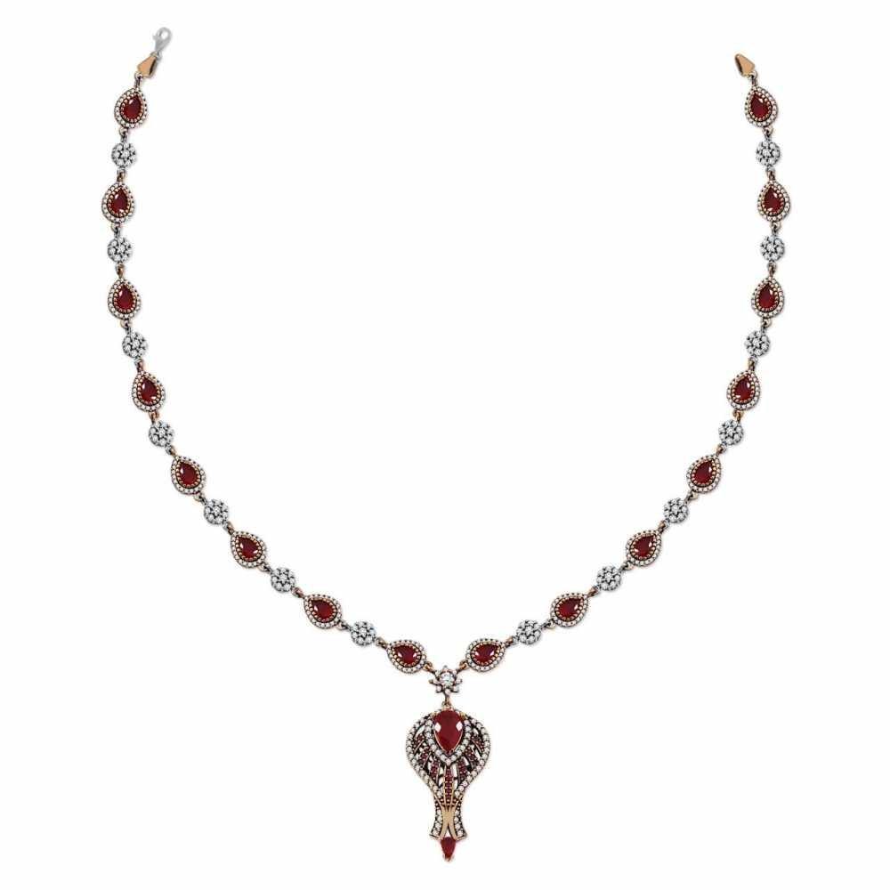 Zirkon ve Kırmızı Ruby Taşlı Otantik 925 Ayar Gümüş Bayan Kolye