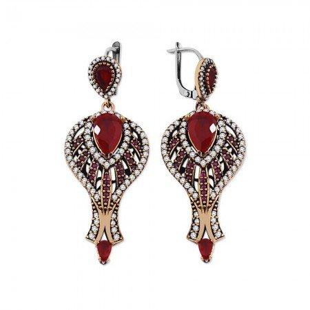 Zirkon ve Kırmızı Ruby Taşlı 925 Ayar Gümüş Otantik Küpe - Thumbnail