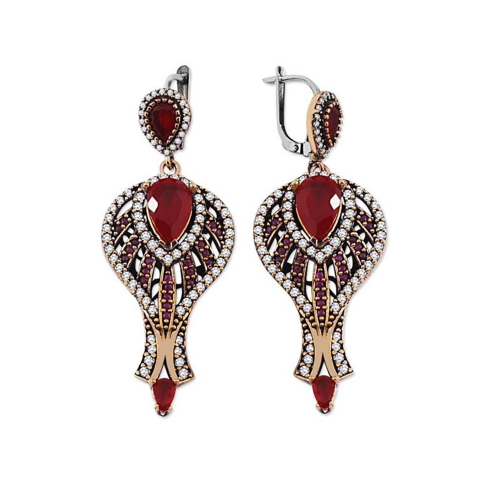 Zirkon ve Kırmızı Ruby Taşlı 925 Ayar Gümüş Otantik Küpe