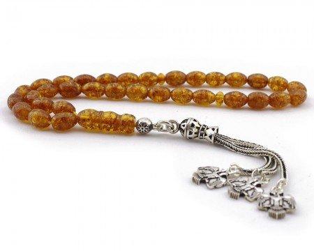 Gümüş Selçuklu Kartalı Püsküllü Pres Kehribar Tesbih - Thumbnail