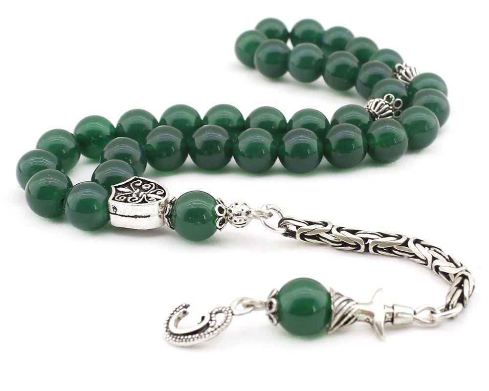 925 Ayar Gümüş Kral Püsküllü Küre Kesim Yeşil Akik Tesbih