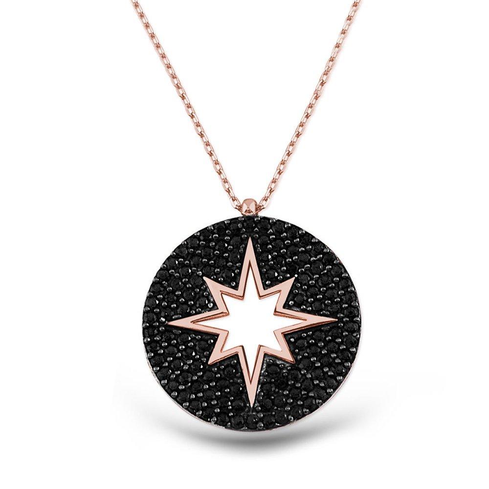 Gümüş Siyah Kutup Yıldızı Kolye