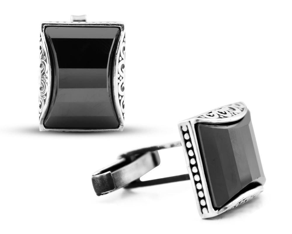 Gümüş Siyah Zirkon Taşlı Kol Düğmesi