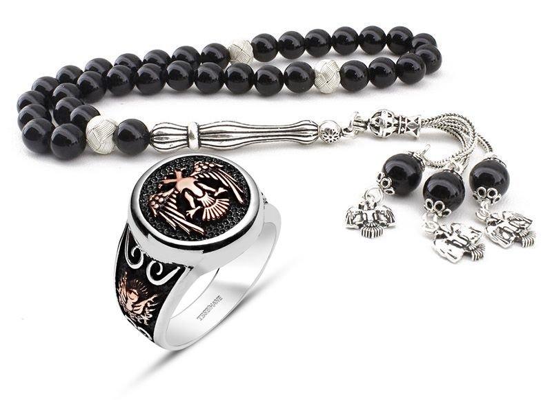 Gümüş Tasarım Oniks Tesbih ve Selçuklu Kartallı Gümüş Yüzük