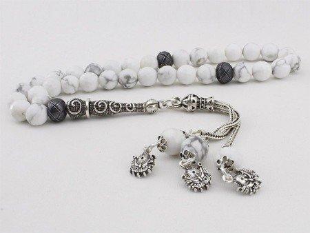 Gümüş Tasarımlı ve Kazaz Süslemeli Havlit Tesbih (FDVMXLS) - Thumbnail