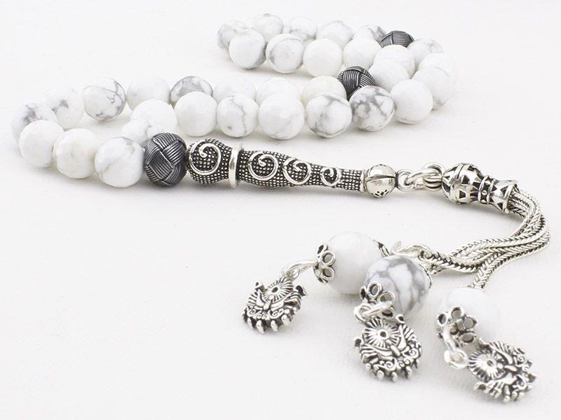 Gümüş Tasarımlı ve Kazaz Süslemeli Havlit Tesbih (FDVMXLS)
