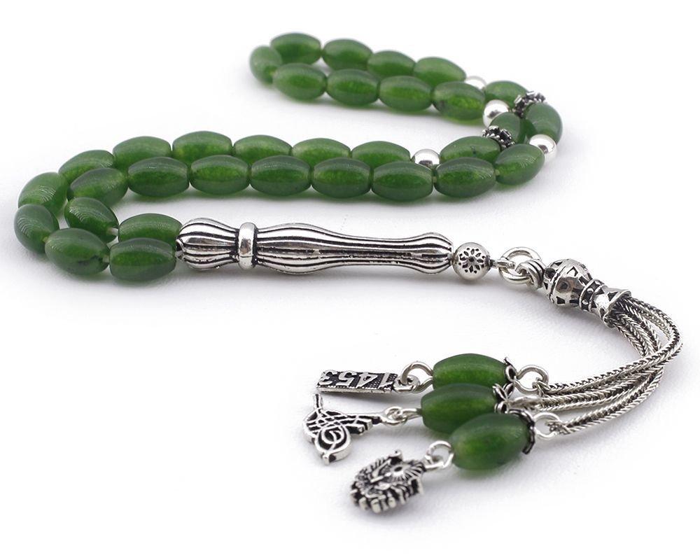 Gümüş Tuğra - Arma - 1453 Püsküllü Yeşil Akik Doğaltaş Tesbih