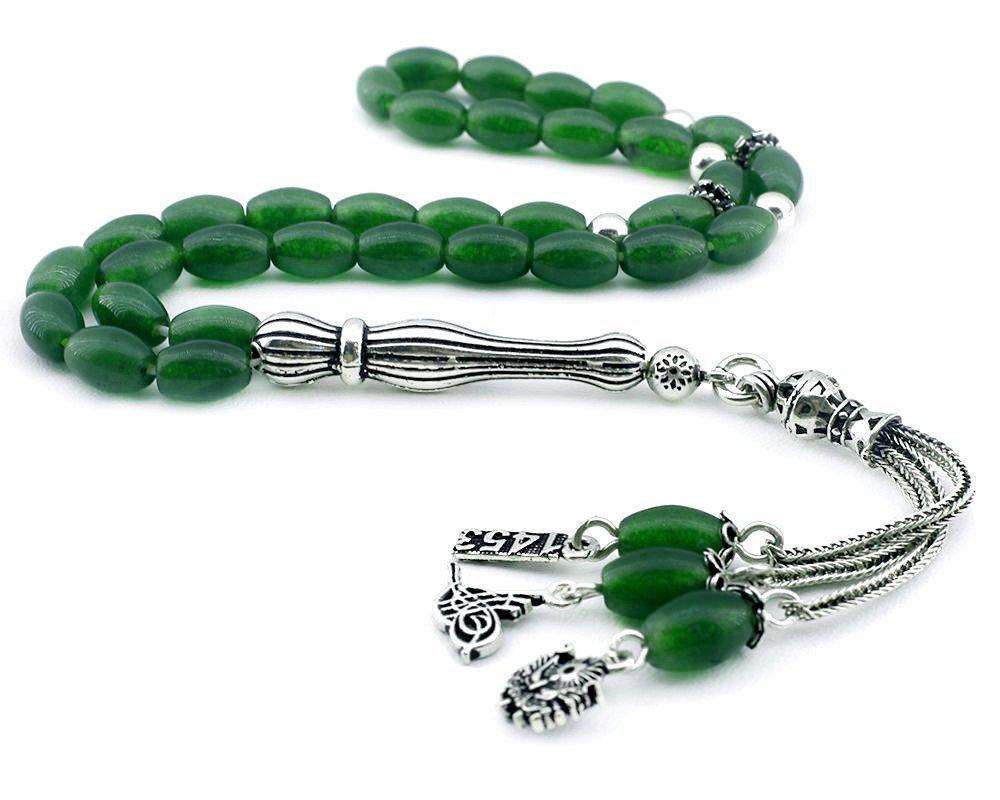 925 Ayar Gümüş Tuğra-Arma-1453 Püsküllü Arpa Kesim Yeşil Akik Tesbih