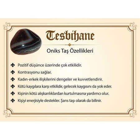 925 Ayar Gümüş Tuğra Püsküllü Fasetalı Küre Kesim Oniks Tesbih - Thumbnail