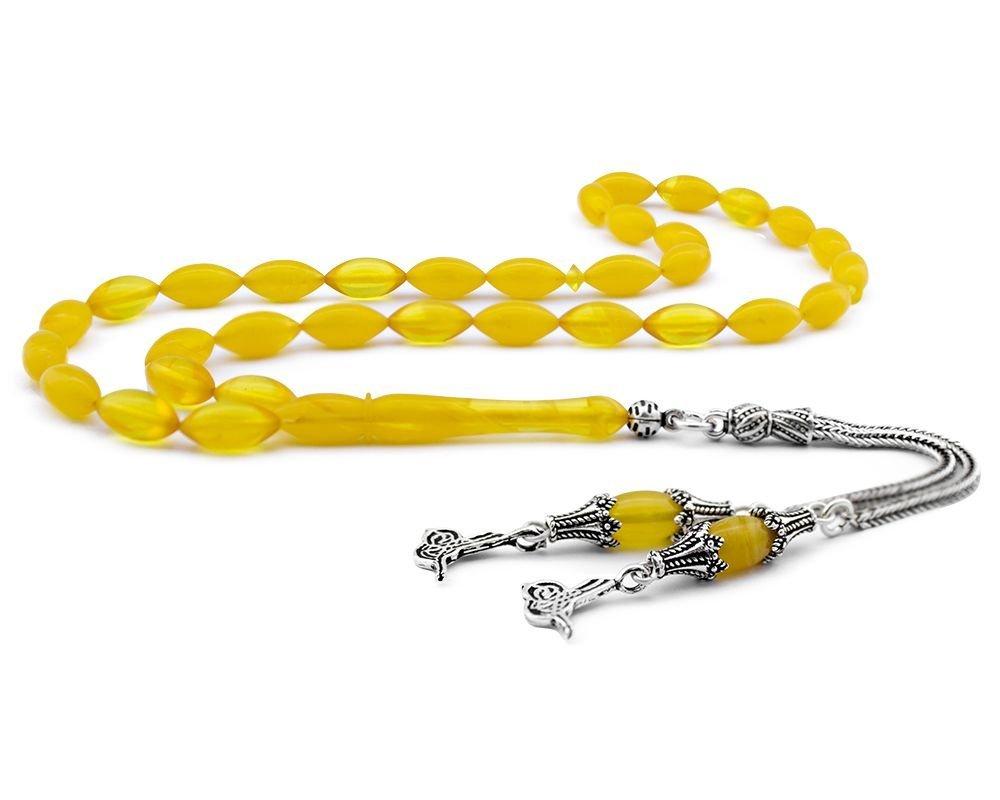 Gümüş Tuğra Püsküllü Sarı Sıkma Kehribar Tesbih