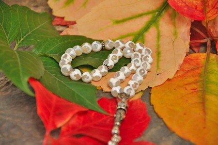 Gümüş Tuğra Ve İmame Püsküllü Çizgili Akik Tesbih - Thumbnail