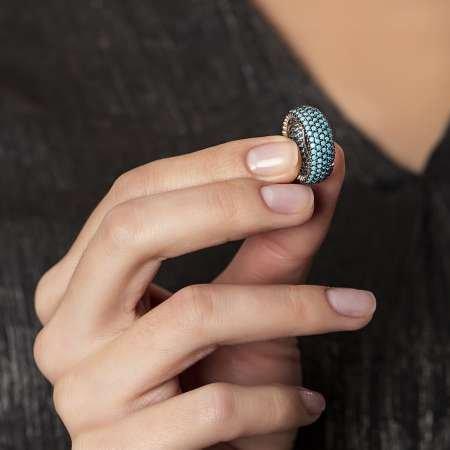 Gümüş Turkuaz Taşlı Bayan Yüzük - Thumbnail