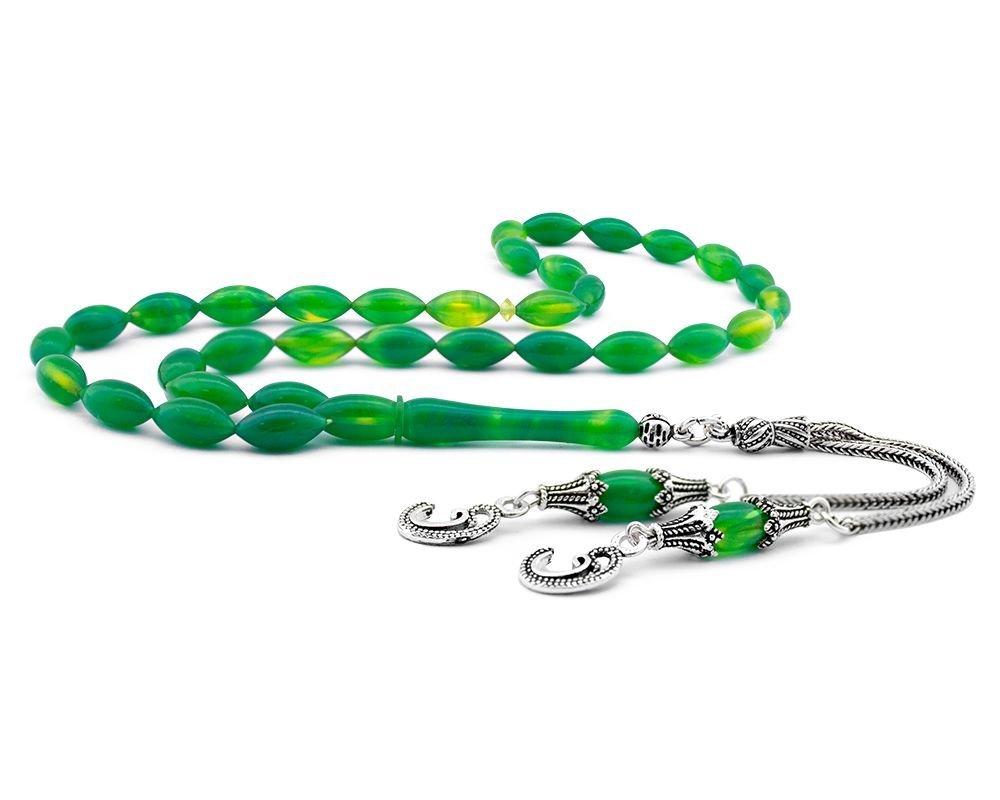 Gümüş Vav Püsküllü Yeşil Hareli Sıkma Kehribar Tesbih
