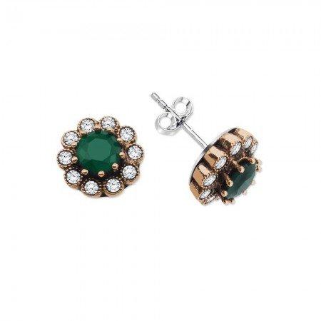 Yeşil Zirkon Taşlı Çiçek Tasarım 925 Ayar Gümüş Küpe - Thumbnail