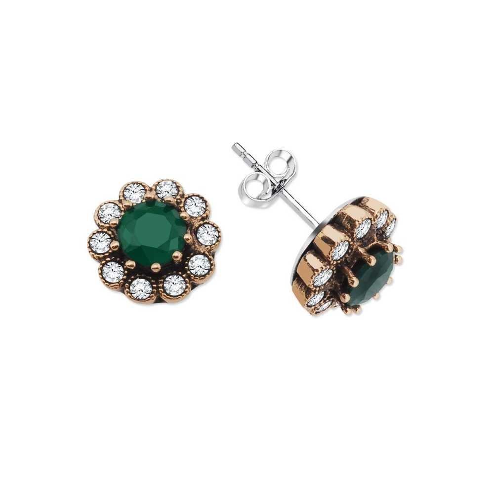 Yeşil Zirkon Taşlı Çiçek Tasarım 925 Ayar Gümüş Küpe