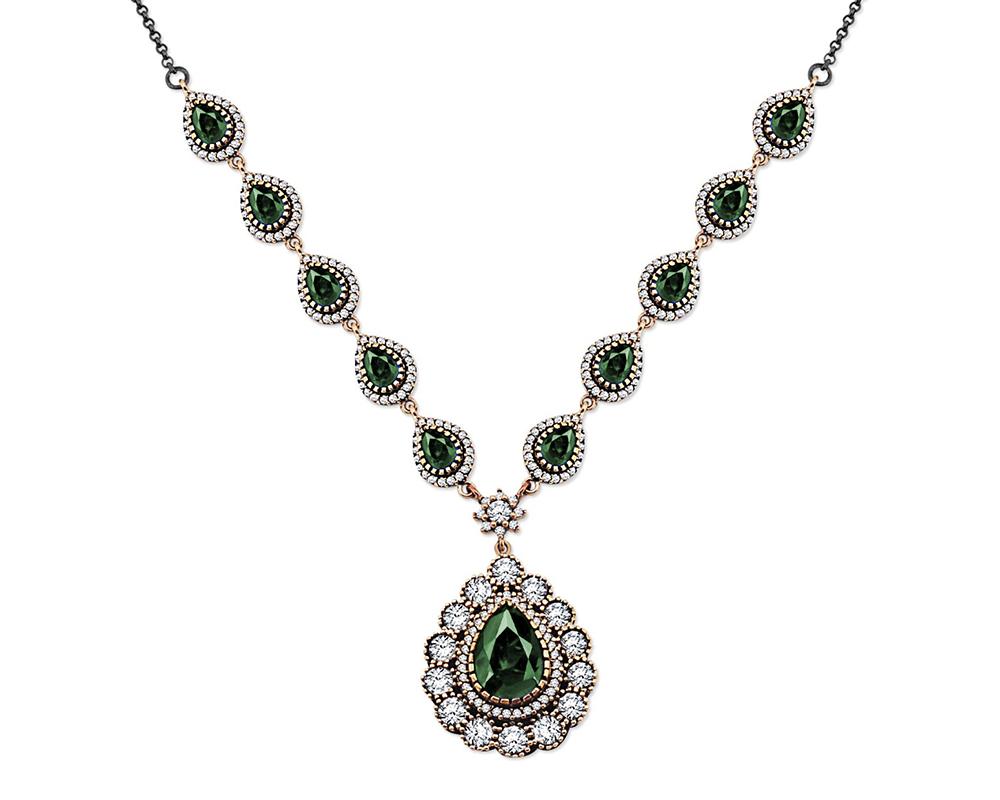 Yeşil-Beyaz Zirkon Taşlı Otantik 925 Ayar Gümüş Bayan Kolye