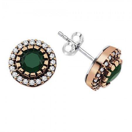 Yeşil Zirkon Taşlı Yuvarlak Tasarım 925 Ayar Gümüş Küpe - Thumbnail