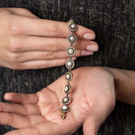 Zirkon Taşlı Yarım Küre Tasarım 925 Ayar Gümüş Bayan Bileklik - Thumbnail