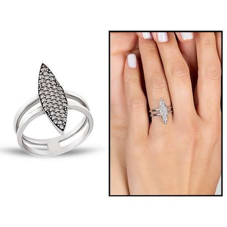 Gümüş Zirkon Taşlı Eklem Yüzüğü - Thumbnail