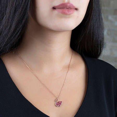 Kırmızı Zirkon Taşlı Kuğu Tasarım 925 Ayar Gümüş Bayan Kolye - Thumbnail