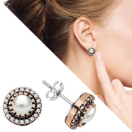 Beyaz Zirkon Taşlı Yuvarlak Tasarım 925 Ayar Gümüş Küpe - Thumbnail