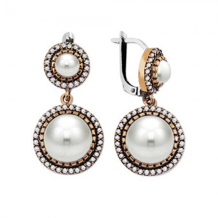 Beyaz Zirkon Taşlı İki Kat Yuvarlak Tasarım 925 Ayar Gümüş Küpe - Thumbnail
