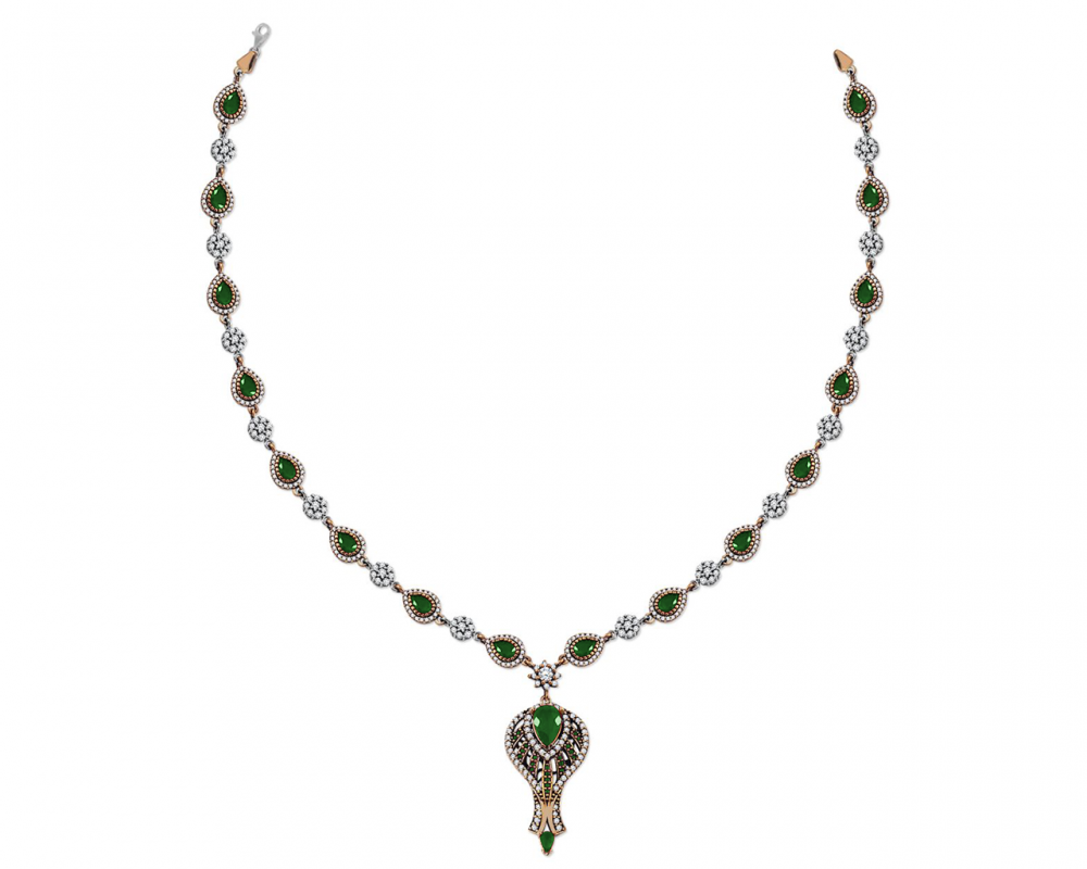 Yeşil Zirkon Taşlı Otantik 925 Ayar Gümüş Bayan Kolye