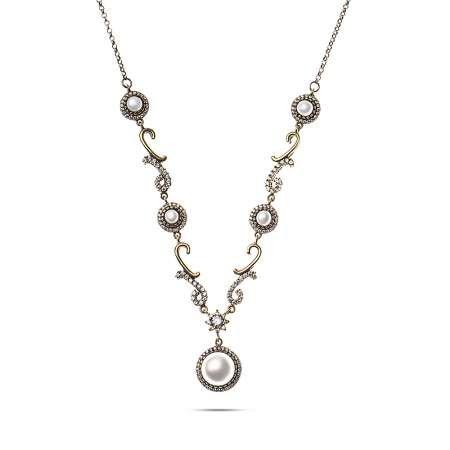 Beyaz Zirkon Taşlı Otantik 925 Ayar Gümüş Bayan Kolye - Thumbnail